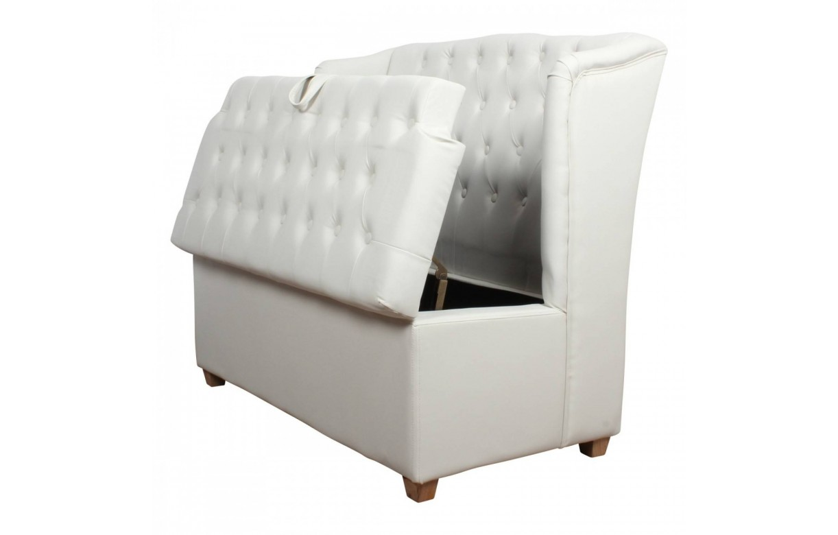 banquette coffre de rangement blanc capitonn garba decome store. Black Bedroom Furniture Sets. Home Design Ideas