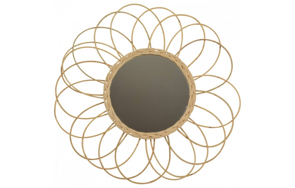 miroir rond en rotin beige 75 cm rosy decome store. Black Bedroom Furniture Sets. Home Design Ideas