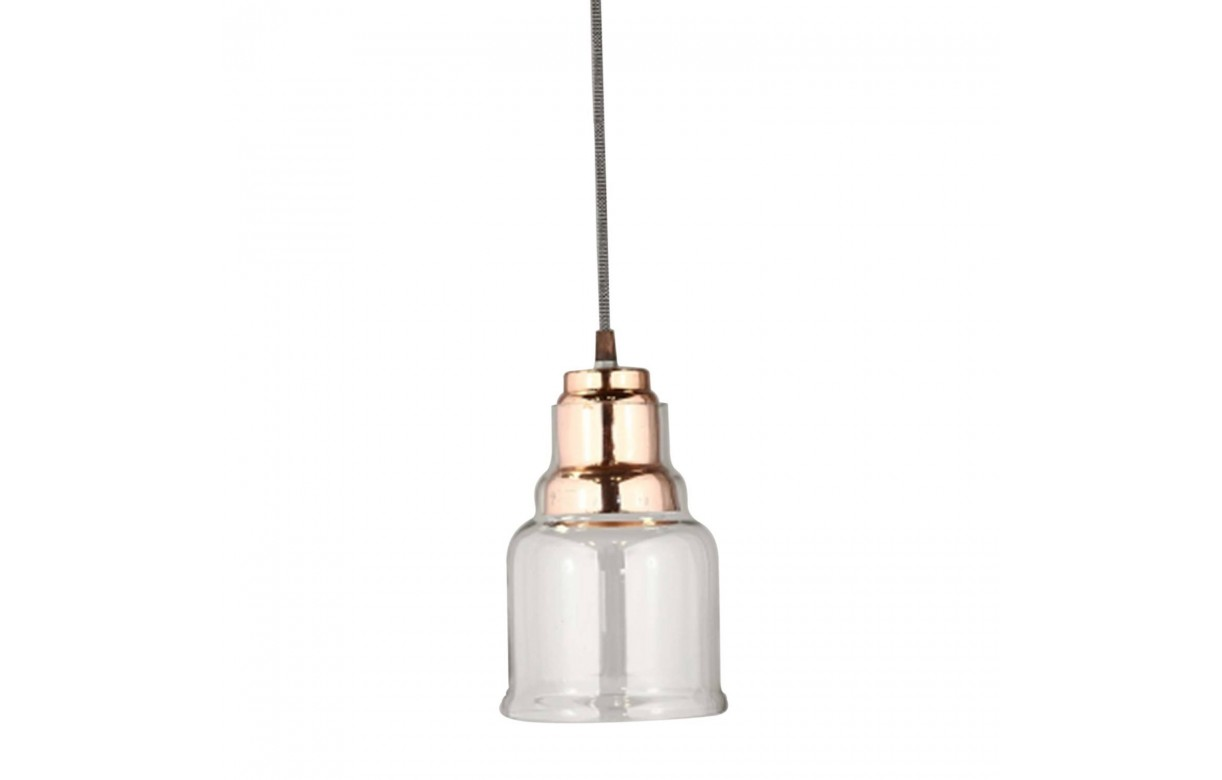 Suspension style industriel en verre et m tal cuivr - Suspension metal industriel ...