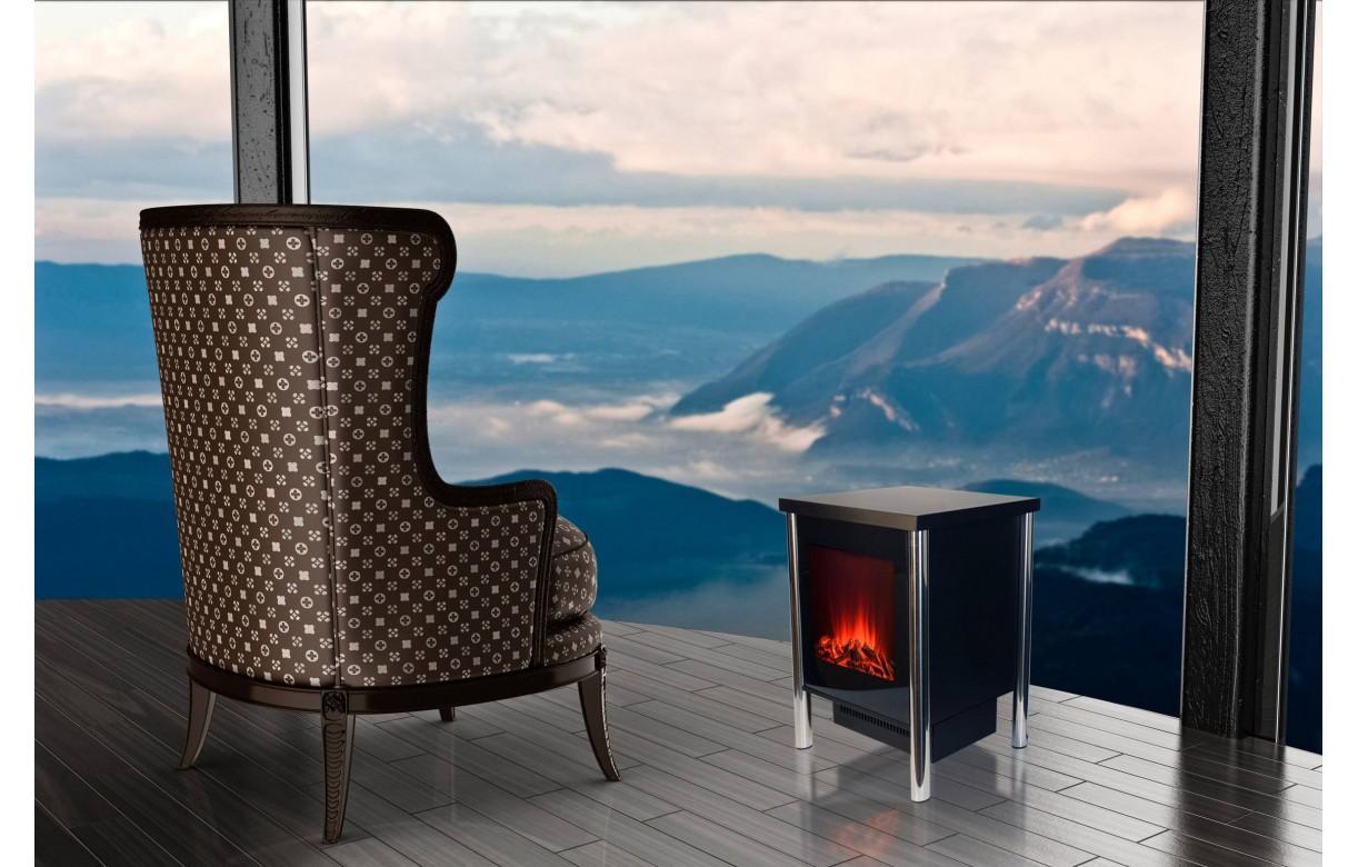 Chauffage électrique foyer de cheminée inox - Chemin'arte