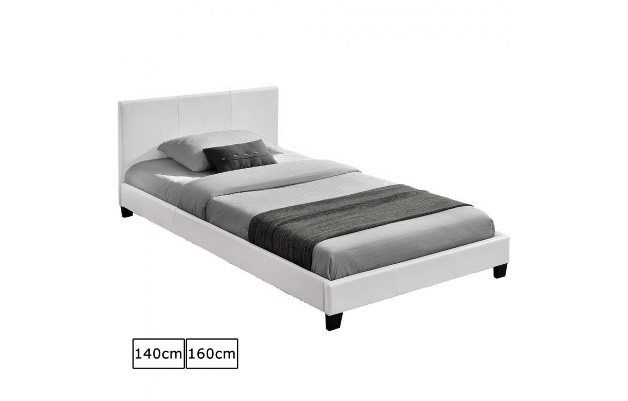 lit simili cuir blanc maison design. Black Bedroom Furniture Sets. Home Design Ideas
