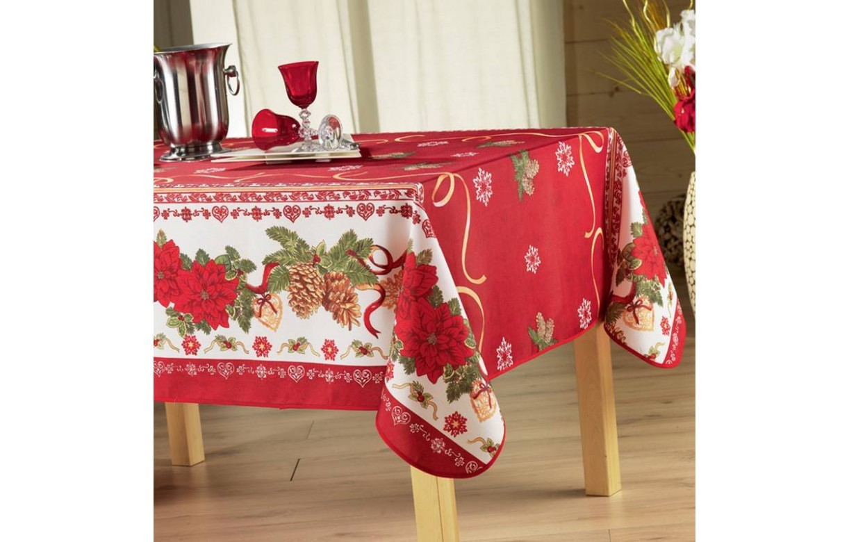 nappe de noel rouge anti tache rectangle 150x240 cm. Black Bedroom Furniture Sets. Home Design Ideas