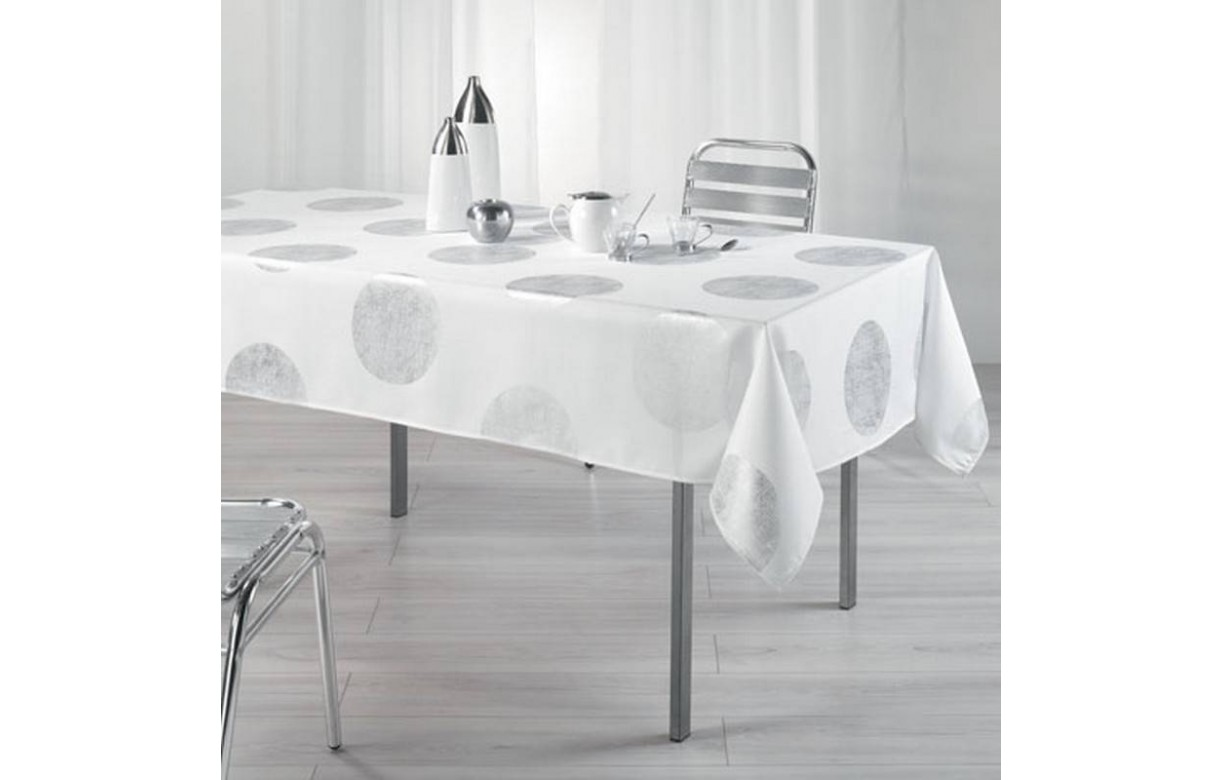 nappe anti tache rectangle 150 x 240 cm platine blanc decome store. Black Bedroom Furniture Sets. Home Design Ideas