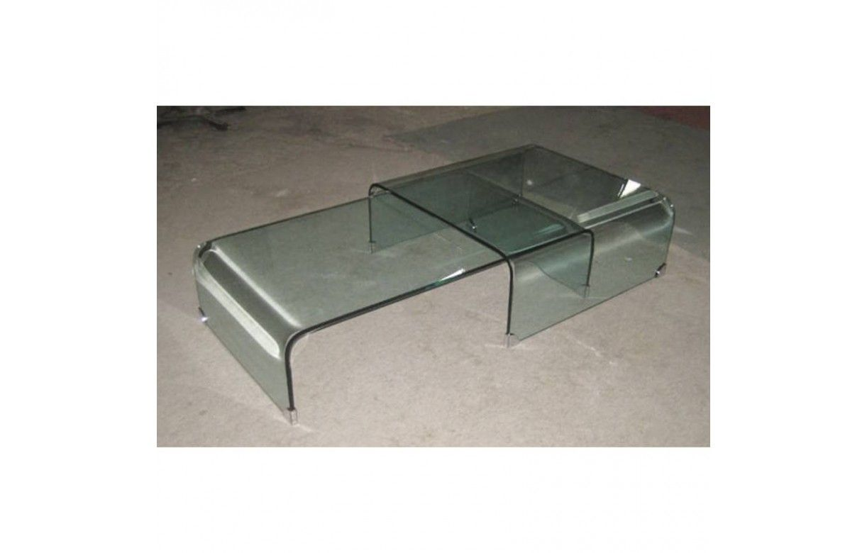 Table basse gigogne en verre design haut de gamme bady - Table basse verre but ...