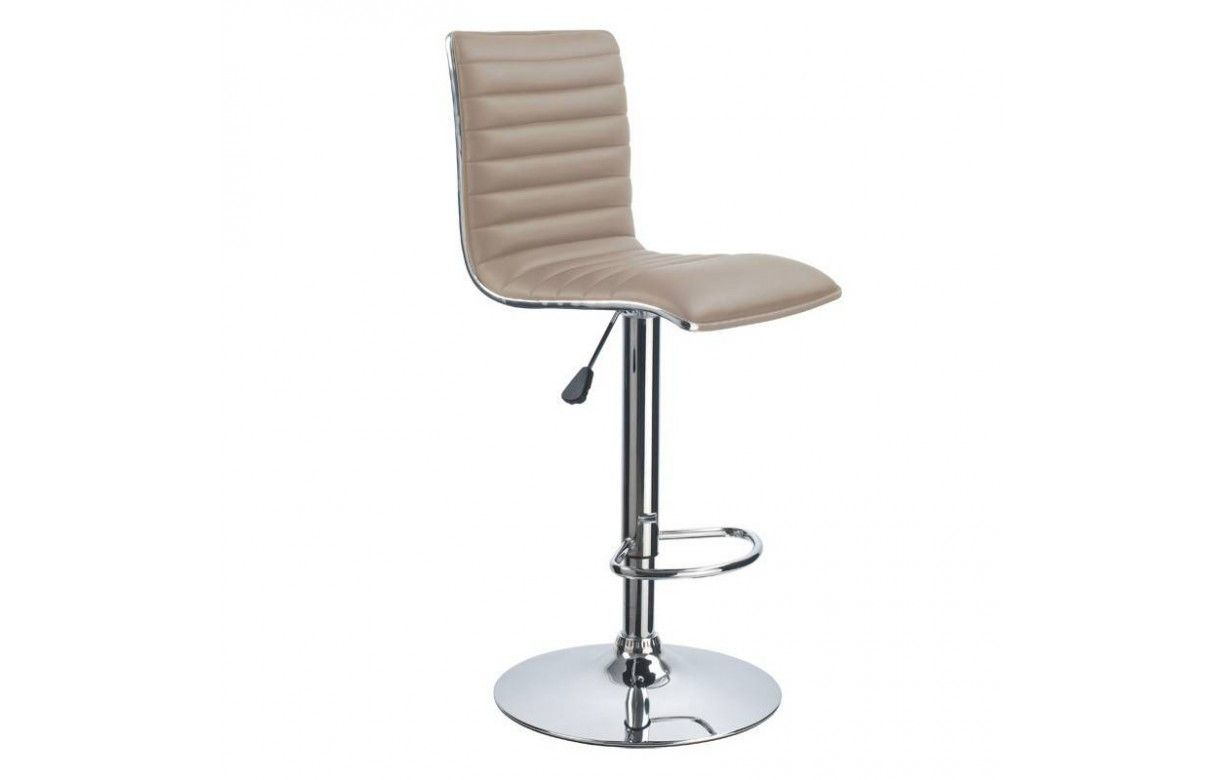Tabouret de bar taupe en simili cuir set de 2 - Tabouret de bar simili cuir ...