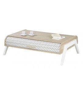 Table basse bois clair avec 4 rangements et 2 rideaux déco Vintagy