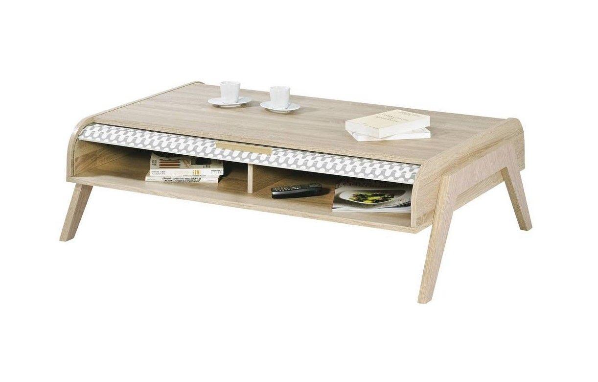 Table basse bois clair scandinave avec rangements rideau for Table bois clair scandinave