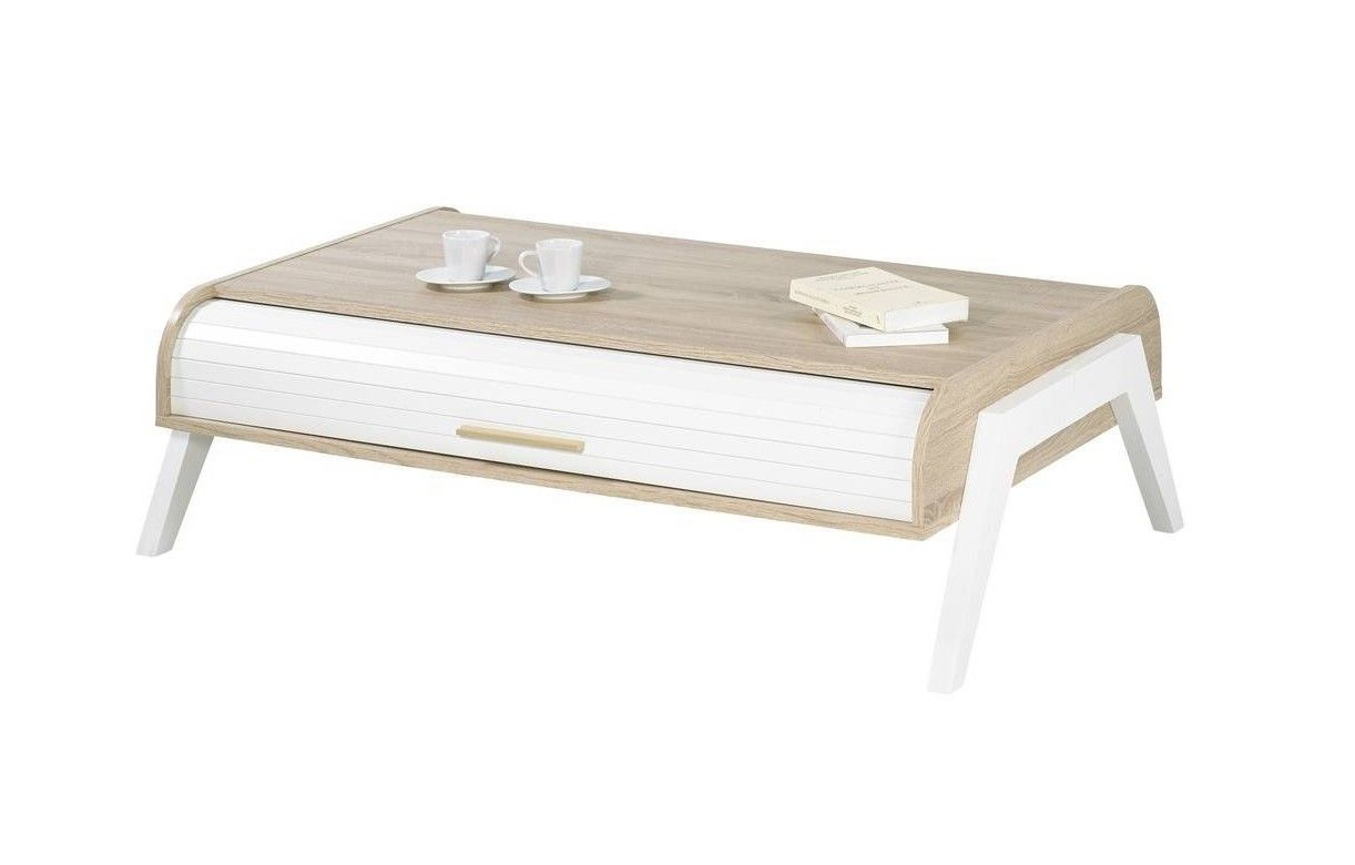 table basse chene clair avec rideaux de rangement blanc. Black Bedroom Furniture Sets. Home Design Ideas