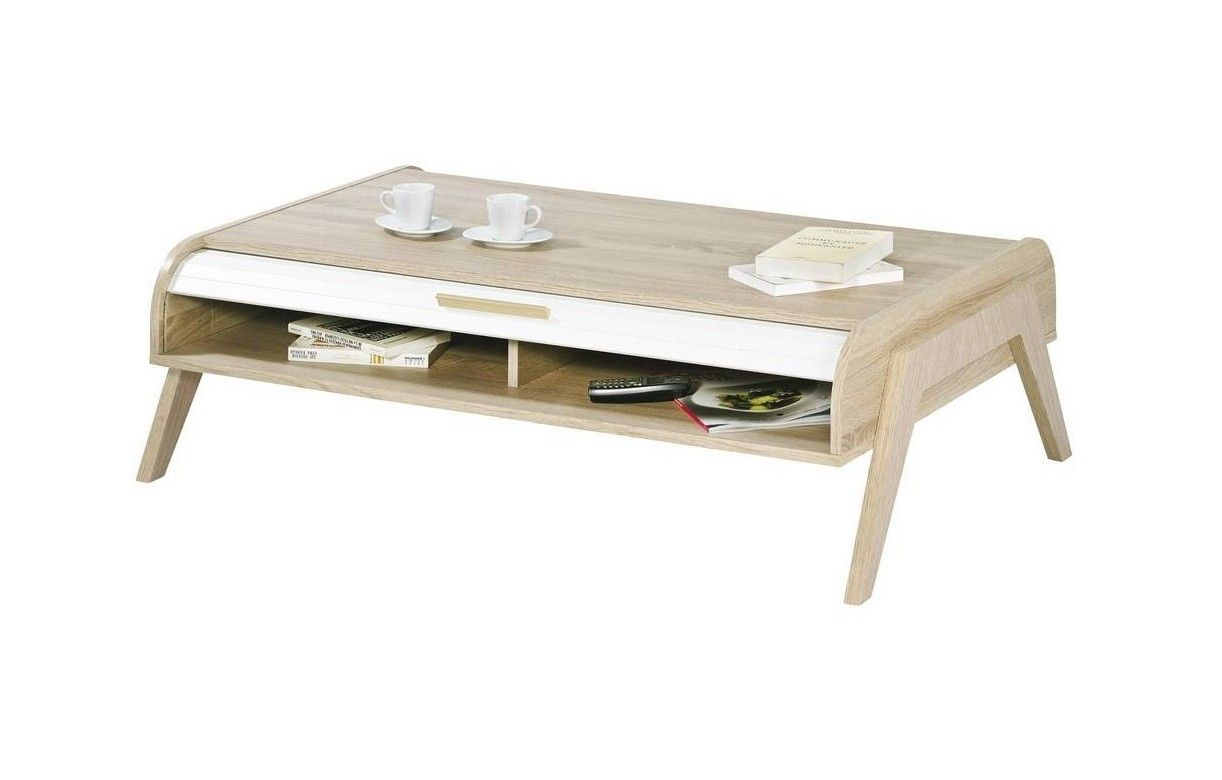 table basse avec rangement coloris blanc laque et bois. Black Bedroom Furniture Sets. Home Design Ideas