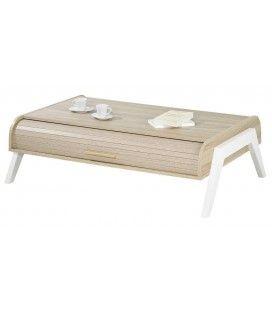 Table basse chene clair avec 2 rideaux déroulants Vintagy