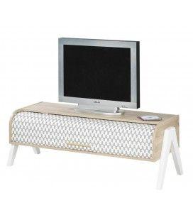 Meuble TV bois clair avec 2 rangements et rideau déco Vintagy