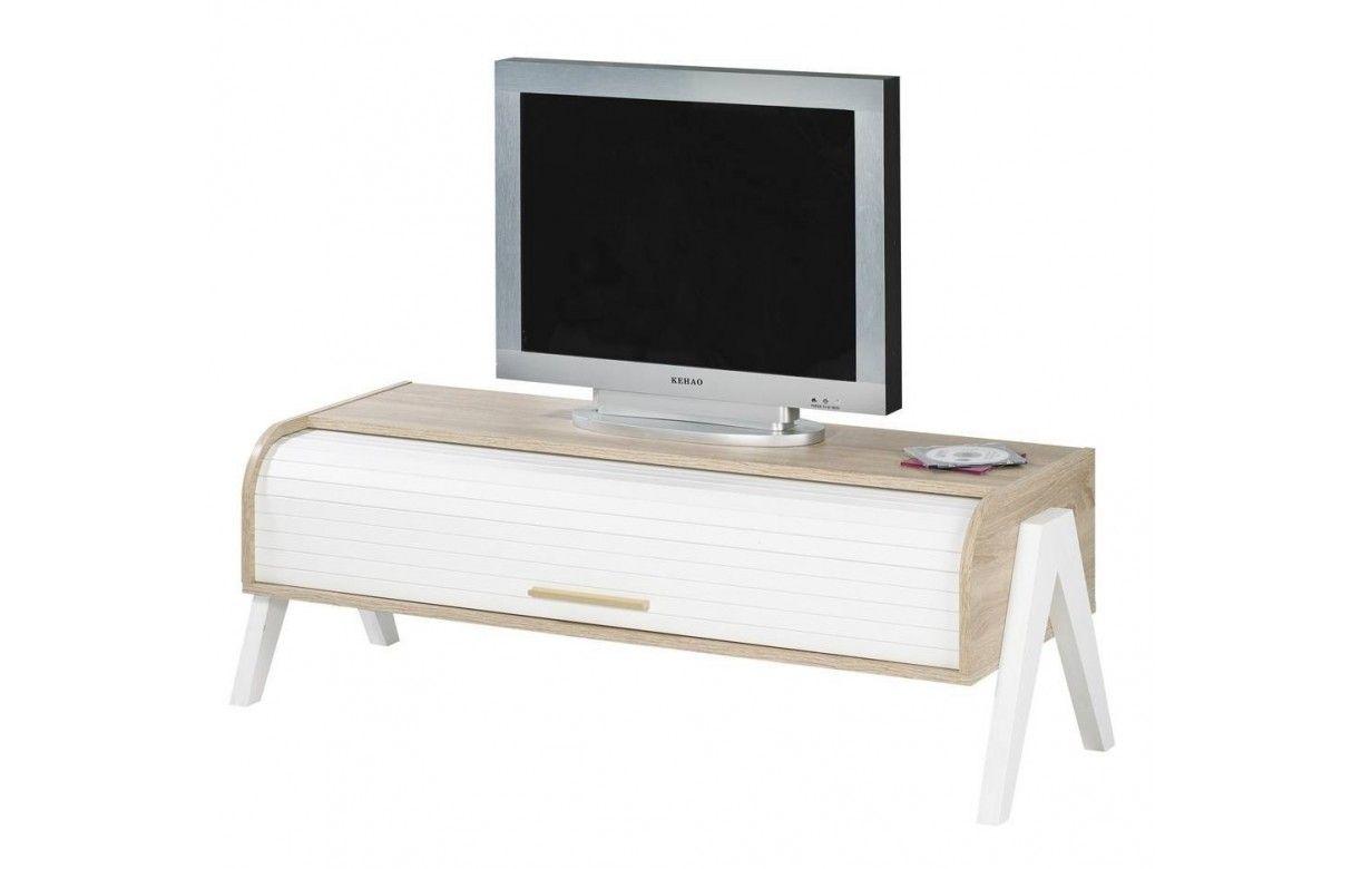 Meuble TV bois clair à rideau blanc et rangements vintage -> Meuble Tv Bois Clair Et Blanc