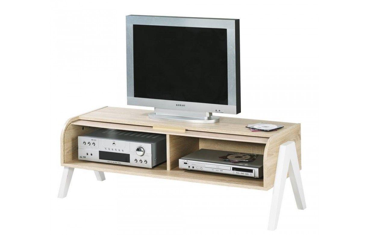 Meuble tv bois clair avec rangement rideau d roulant vintage for Meuble tv avec rangement