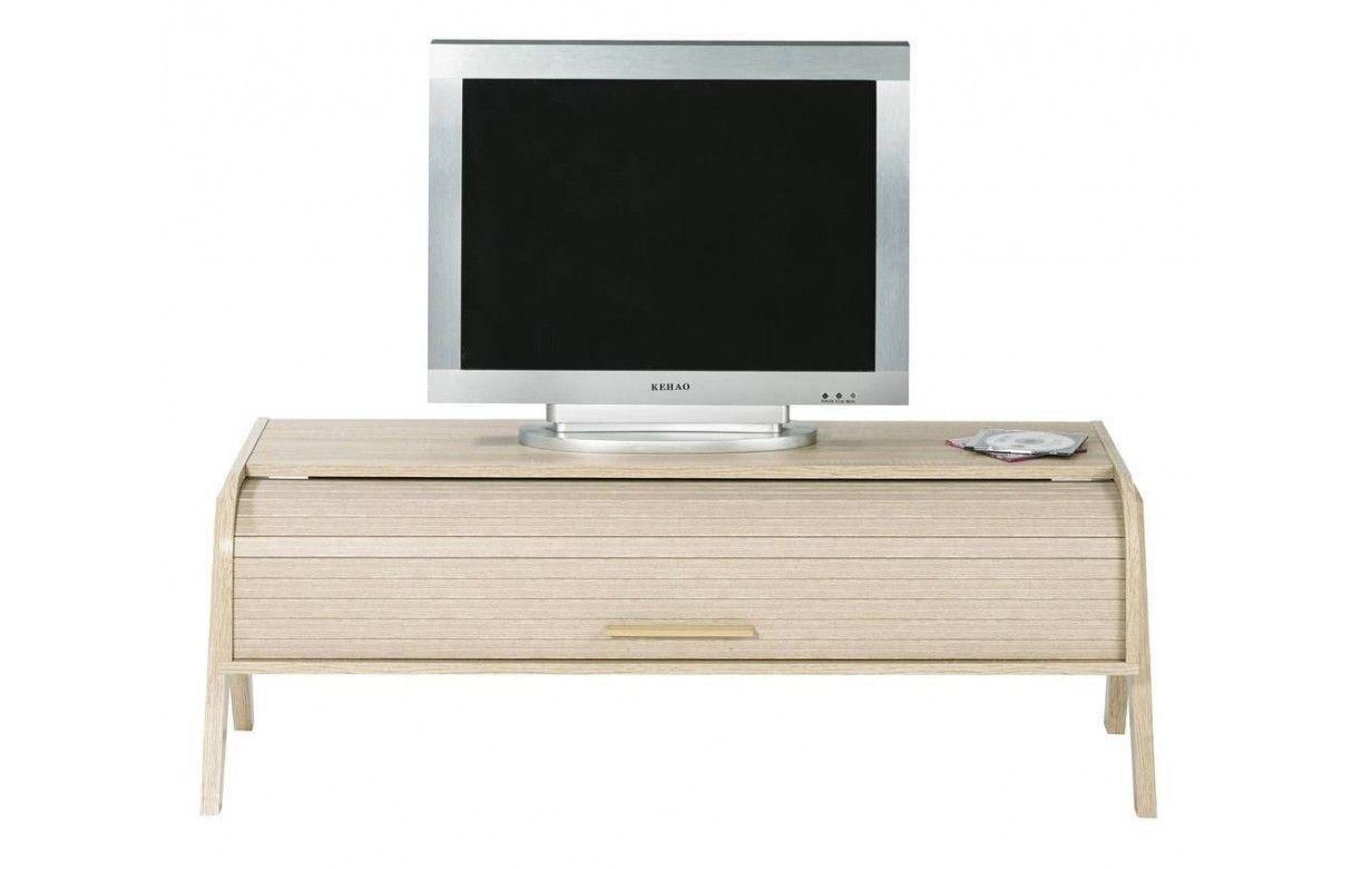 Meuble TV bois clair avec rangement à rideau déroulant vintage ~ Meuble Bois Clair
