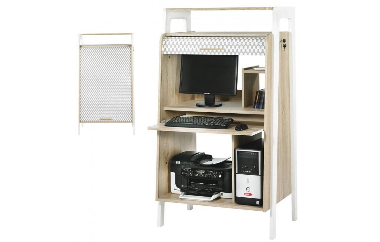 Bureau armoire informatique bois clair avec rideau d co for Meuble bureau a rideau