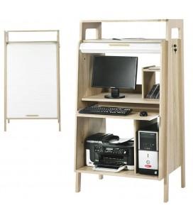 Bureau informatique bois clair et blanc à rideau Vintagy