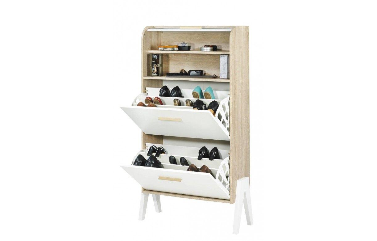 meuble chaussures bois et blanc style scandinave avec rideau. Black Bedroom Furniture Sets. Home Design Ideas