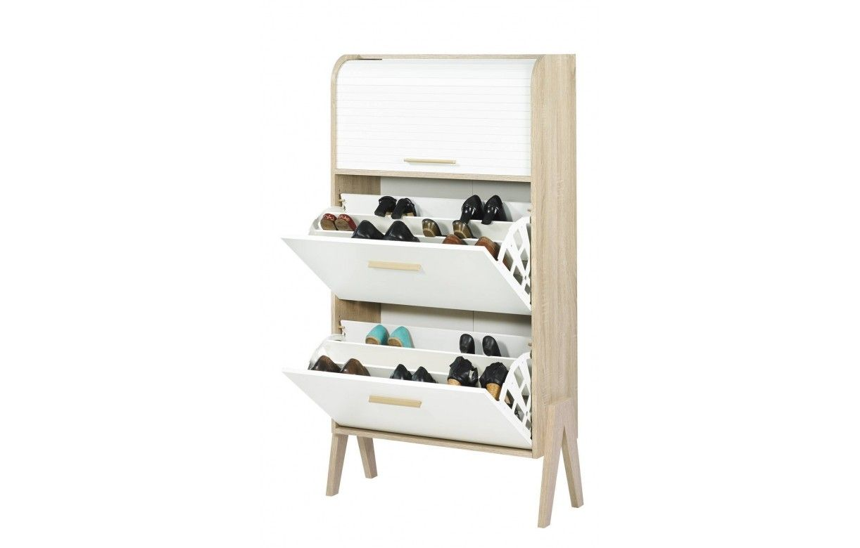 meuble chaussures bois et blanc style scandinave avec rideau. Black Bedroom Furniture Sets. Home Design Ideas