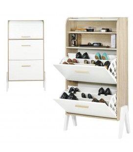 Meuble à chaussures bois et blanc style scandinave avec rideau Vintagy