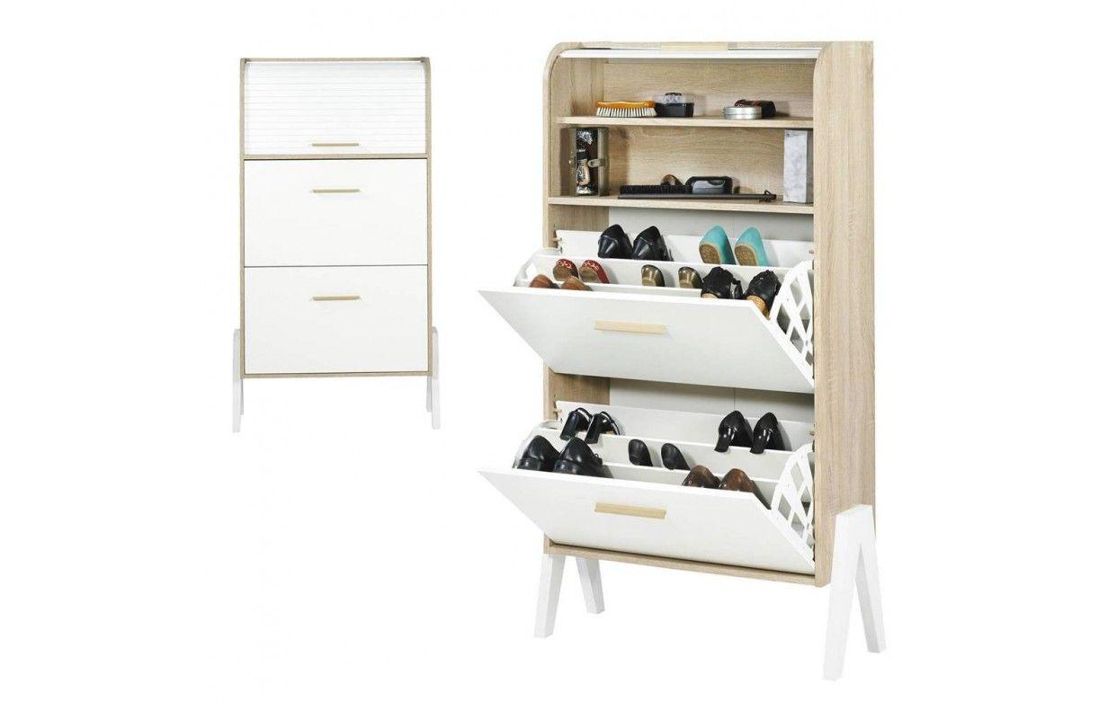Meuble à chaussures bois et blanc style scandinave avec rideau ~ Meuble Bois Et Blanc