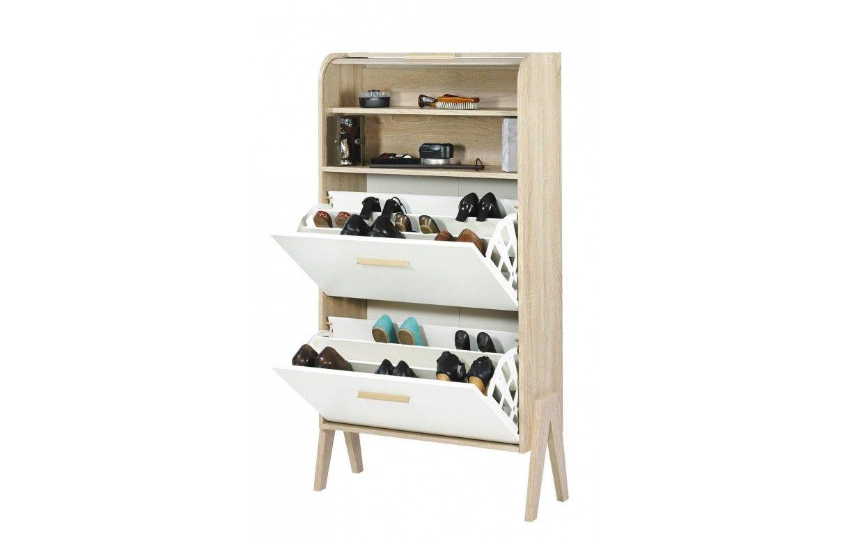 meuble chaussures vintage orange jaune ou blanc et bois clair. Black Bedroom Furniture Sets. Home Design Ideas