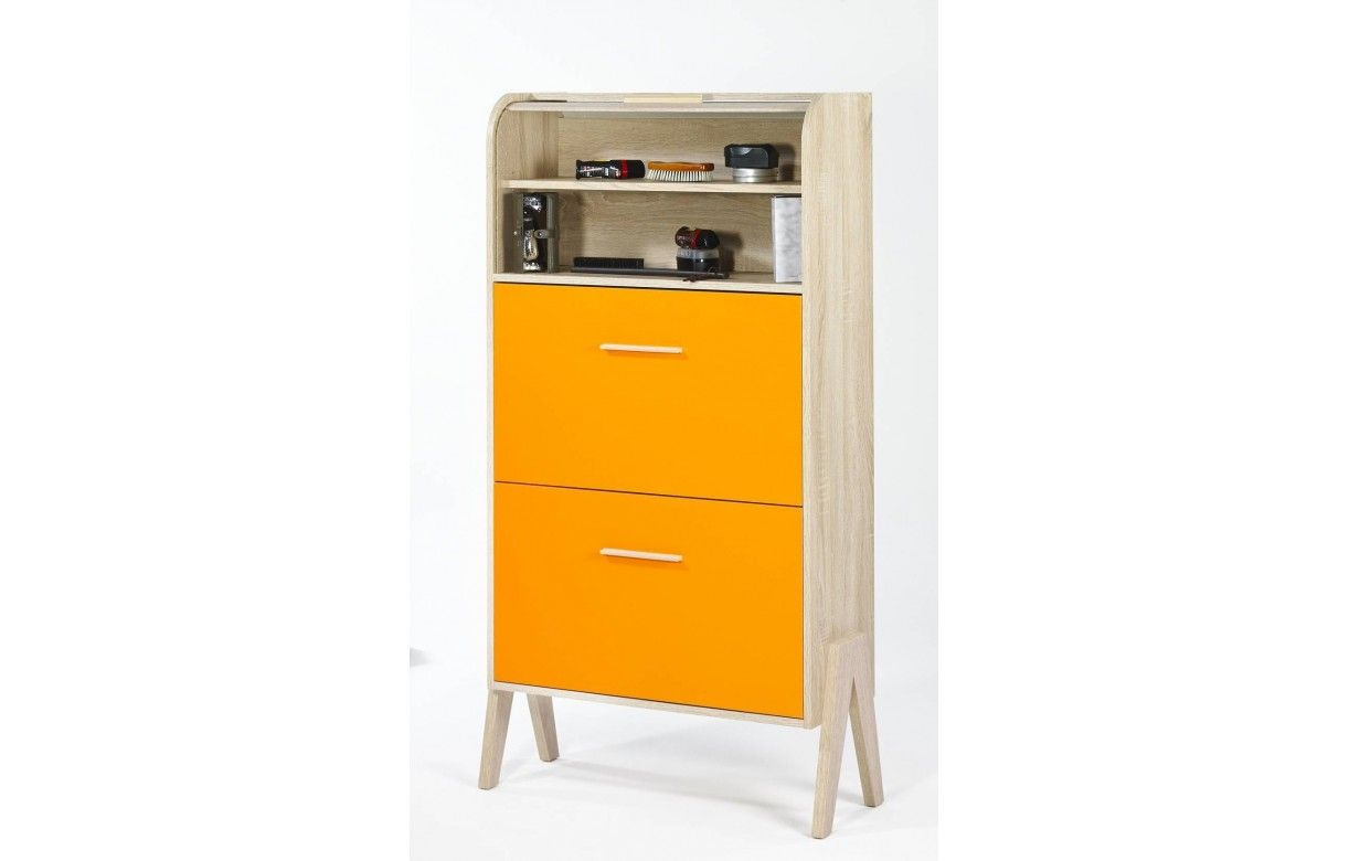 meuble chaussures vintage orange jaune ou blanc et bois clair. Black Bedroom Furniture Sets. Home Design Ideas