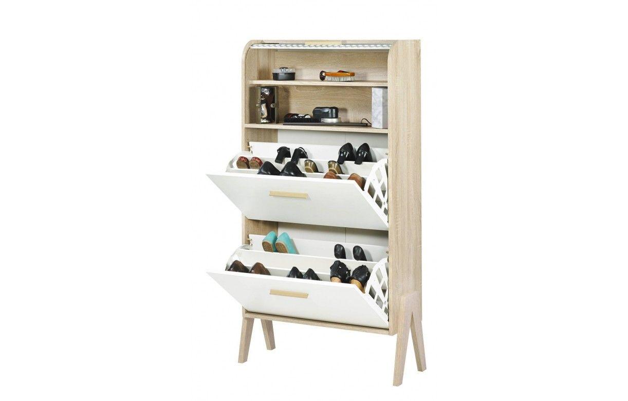 ... Meubles à chaussures > Armoire à chaussures bois clair avec rideau