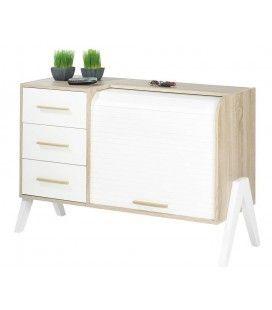 Buffet style scandinave 3 tiroirs et 1 rideau déroulant Vintagy