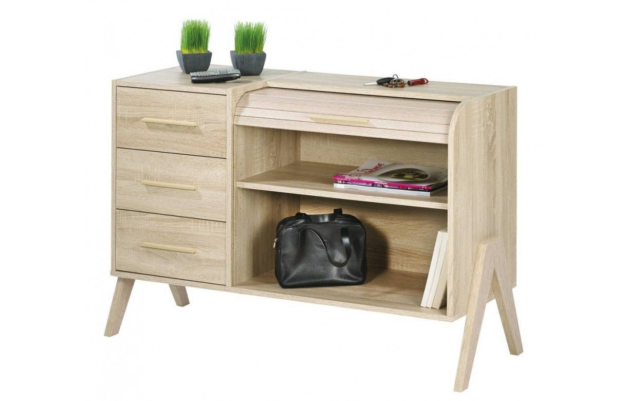 Rangement design scandinave bois clair 3 tiroirs et 1 rideau