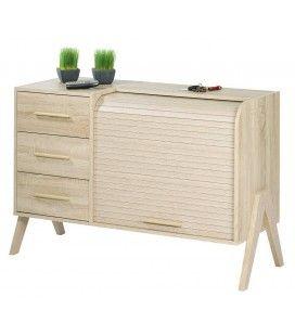 Rangement design scandinave bois clair 3 tiroirs et 1 rideau déroulant Vintagy