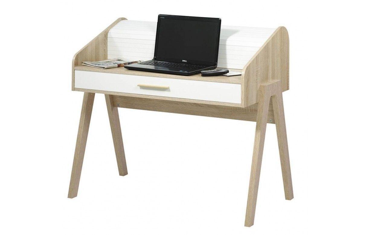 Bureau en bois style scandinave avec tiroir et rideau - Bureau bois scandinave ...