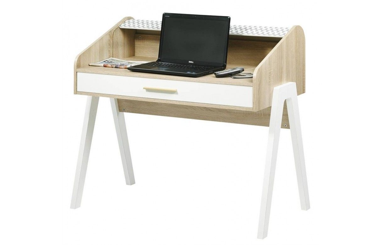 bureau scandinave bois et blanc avec tiroir et rideau d co. Black Bedroom Furniture Sets. Home Design Ideas