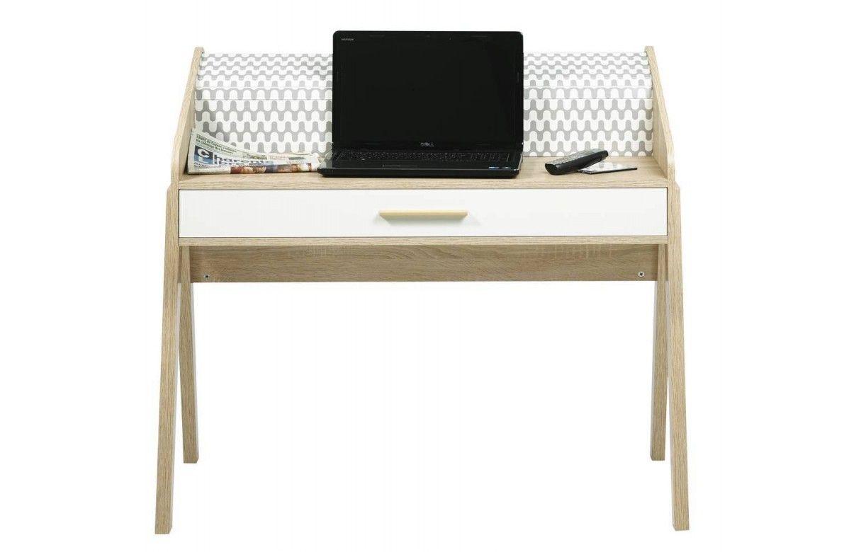 bureau scandinave bois et blanc avec tiroir et rideau d co. Black Bedroom Furniture Sets. Home Design Ideas