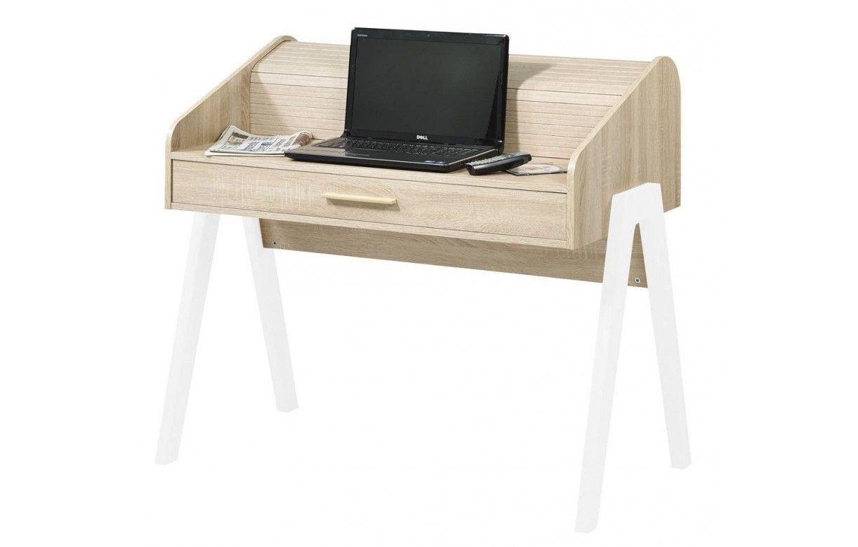 Bureau en bois clair tiroir et rideau coulissant vintage - Bureau bois scandinave ...