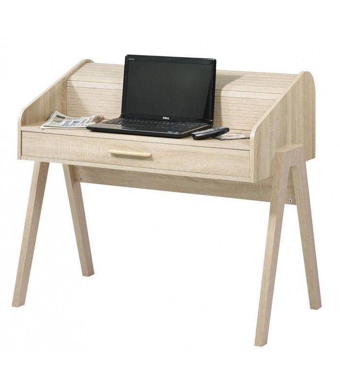 Bureau Design Bois Clair : Bureau en bois clair tiroir et rideau coulissant vintage