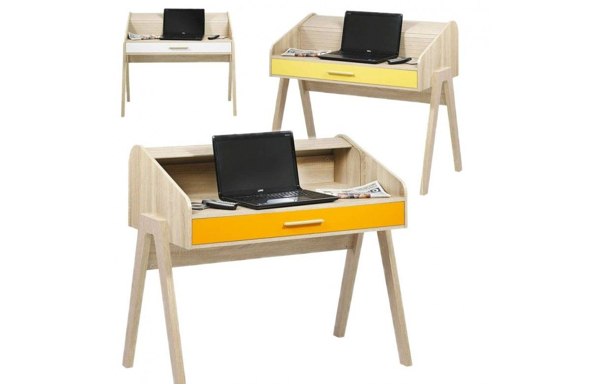 Bureau vintage scandinave en bois avec tiroir et rideau - Bureau bois scandinave ...