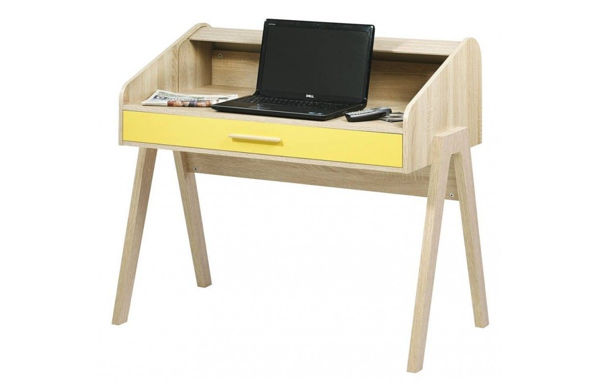 Bureau Vintage En Bois Avec Rideau Coulissant 104cm Happy Bureau  # Petit Bureau Avec Tiroir Coulissant
