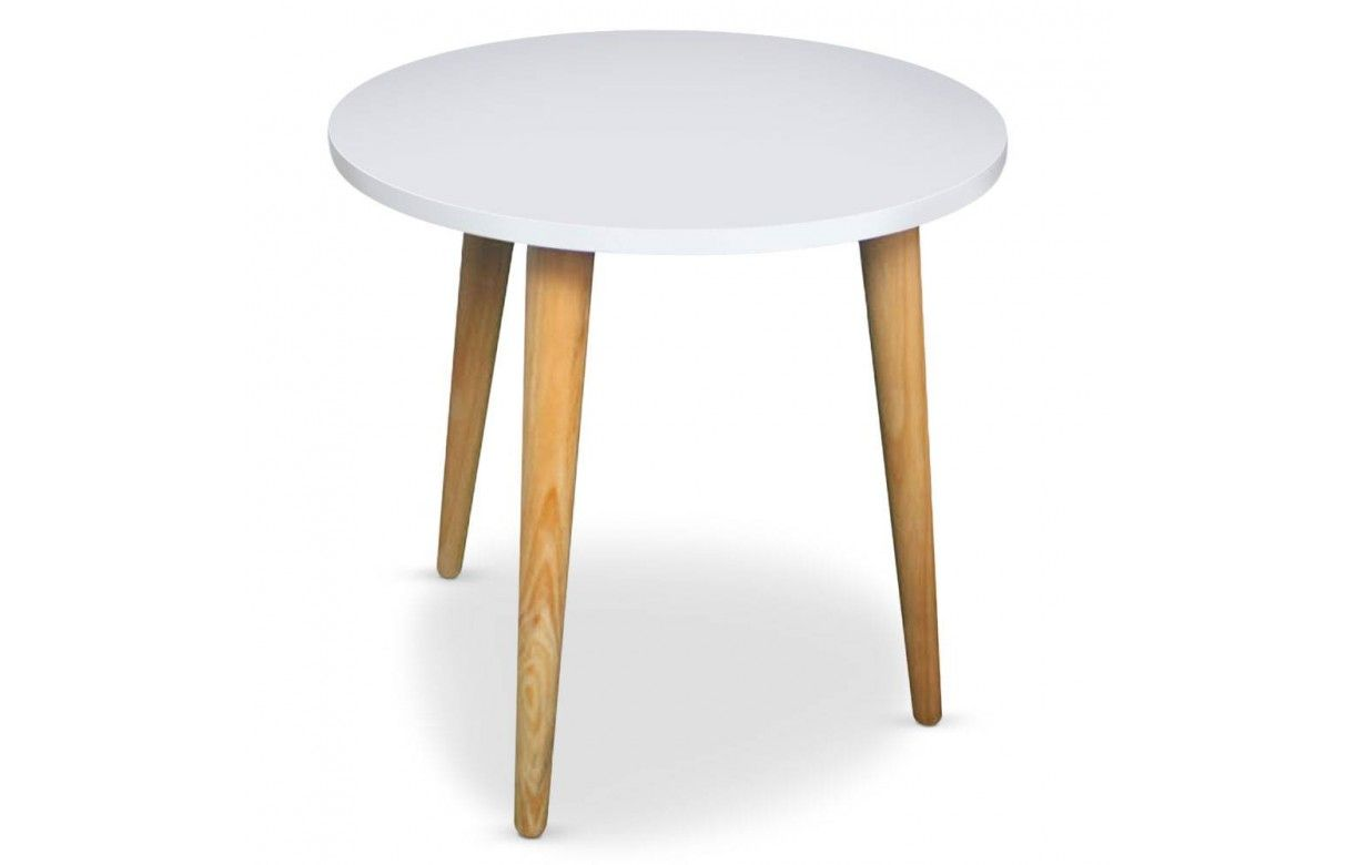 Table basse ronde bois et blanc ou noir style scandinave for Table bois clair scandinave