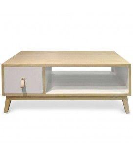 Table basse blanche et bois avec tiroir style scandinave Fjordy