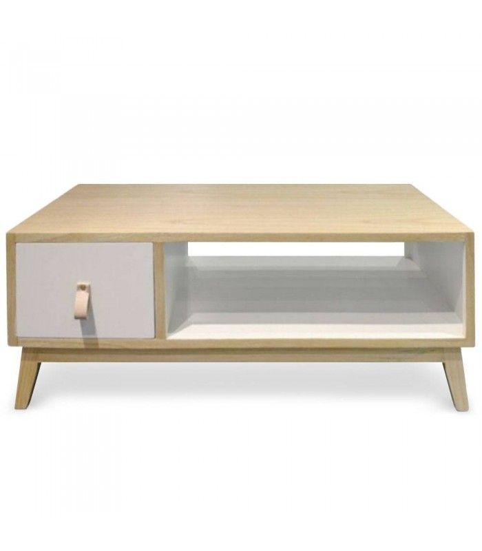 table basse blanche et bois avec tiroir style scandinave. Black Bedroom Furniture Sets. Home Design Ideas