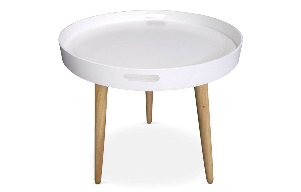 Table basse plateau ronde noire ou blanche for Table basse plateau