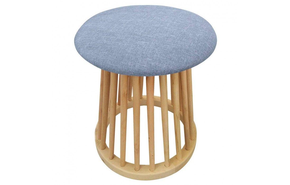 petit tabouret design style scandinave bois et tissu clair. Black Bedroom Furniture Sets. Home Design Ideas