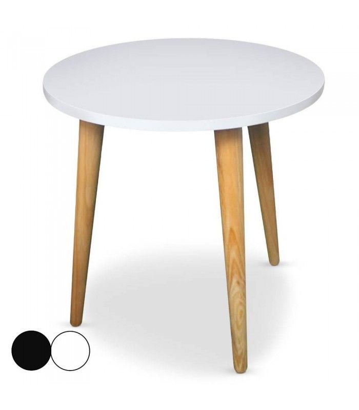 Table basse ronde bois et blanc ou noir style scandinave for Table basse ronde blanc
