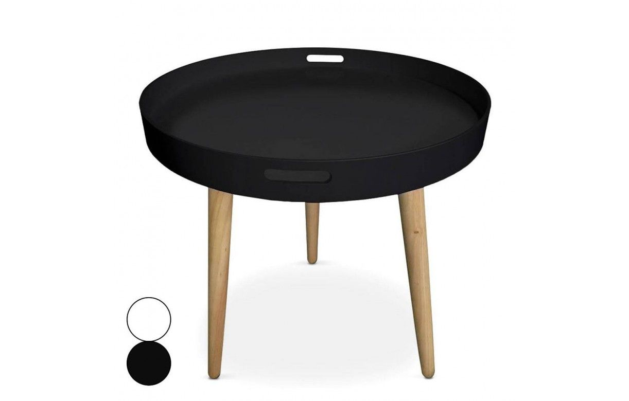 table basse plateau ronde noire ou blanche. Black Bedroom Furniture Sets. Home Design Ideas