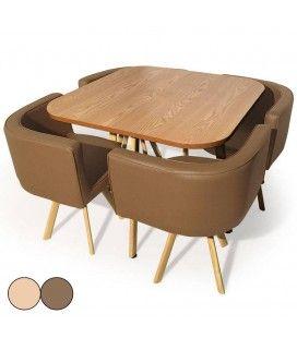 Table et chaises encastrables scandinaves Osly