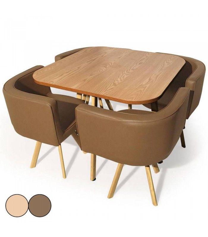 table et 4 chaises encastrables scandinaves. Black Bedroom Furniture Sets. Home Design Ideas