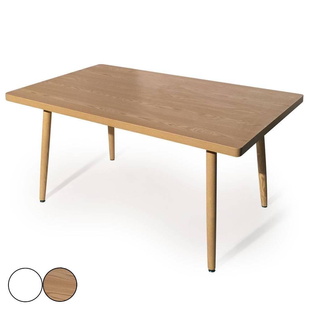 Table rectangulaire en bois clair chaises scandinaves et suspension - Table Rectangulaire Scandinave Blanche Ou Bois Fory
