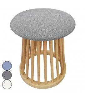 Petit tabouret design style scandinave bois et tissu clair Nory