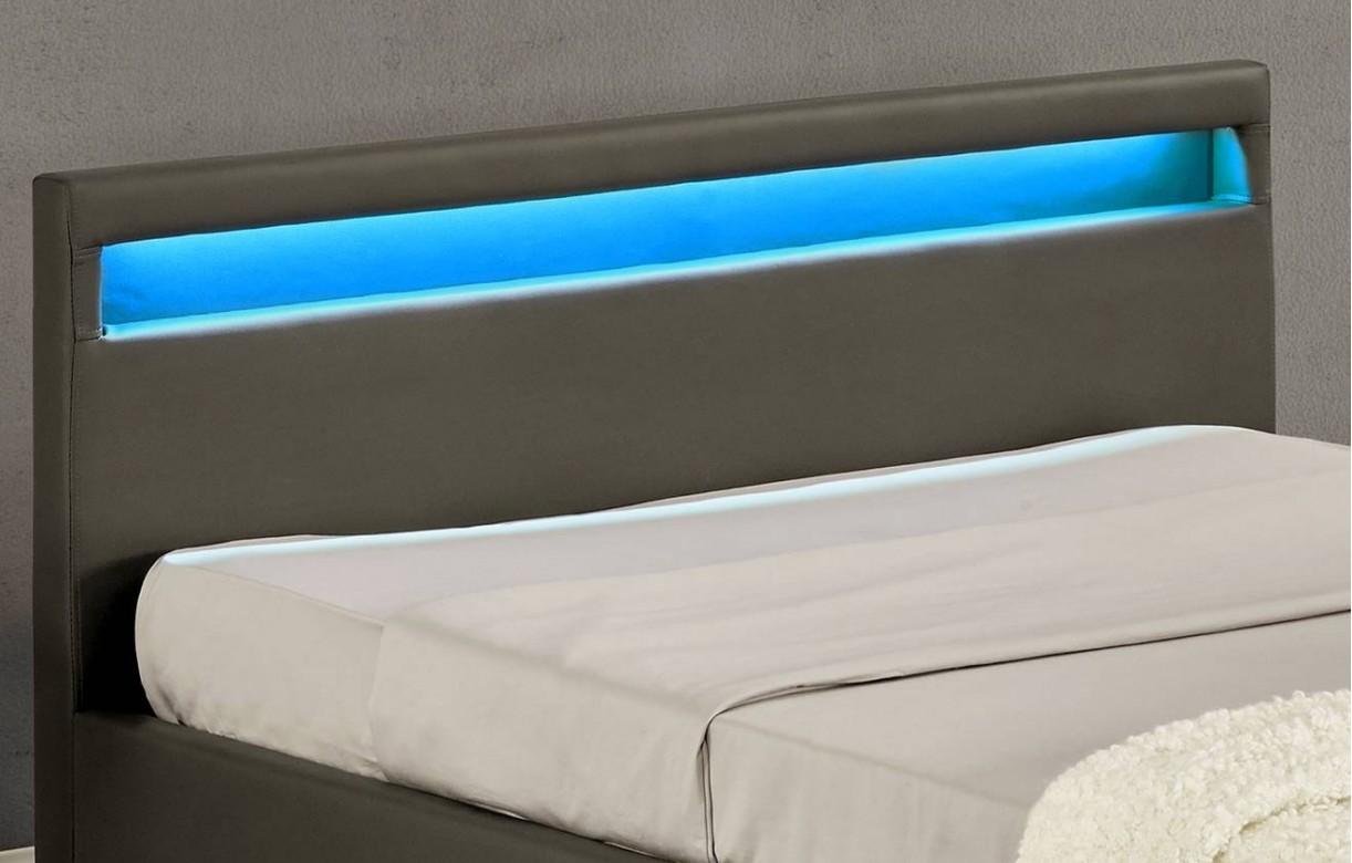 Lit coffre design italien en simili cuir taupe oty 140 ou 160 - Lit cuir design italien ...