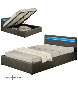 lit coffre gris avec tete de lit et bande led 140cm ou 160cm jupiter. Black Bedroom Furniture Sets. Home Design Ideas